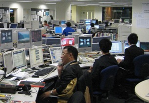 TVB newsroom, Hong Kong.