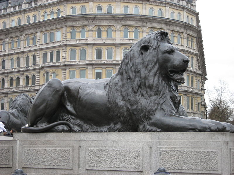 File:Landseer, Lion Nelson column Trafalgar London UK.jpg