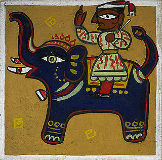 Jamini Roy Man and Elephant 1930s.jpg