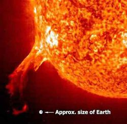 A solar flare that occurred in 1994. The flare was much larger than the Earth.