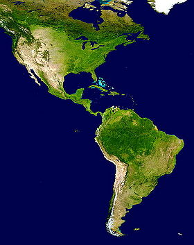 The Americas satellite map.