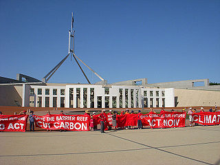 Protests in front of Parliament House Canberra Australia.jpg
