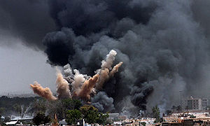 NATO air strike on Tripoli, Libya.